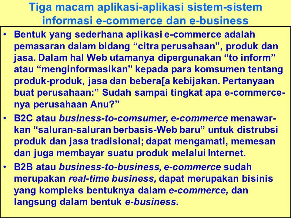 Tunggal M. Tiga macam aplikasi-aplikasi sistem-sistem informasi e-commerce dan e-business Bentuk yang sederhana aplikasi e-commerce adalah pemasaran d