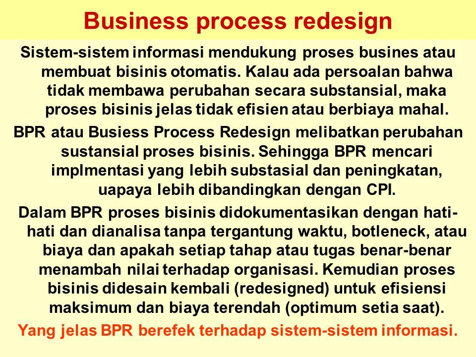 Tunggal M. Business process redesign Sistem-sistem informasi mendukung proses busines atau membuat bisinis otomatis. Kalau ada persoalan bahwa tidak m