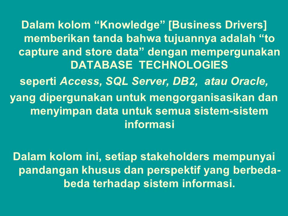 """Tunggal M. Dalam kolom """"Knowledge"""" [Business Drivers] memberikan tanda bahwa tujuannya adalah """"to capture and store data"""" dengan mempergunakan DATABAS"""