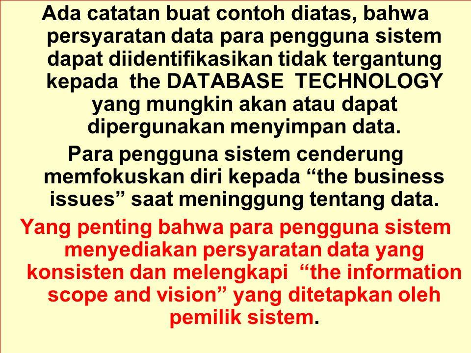 Tunggal M. Ada catatan buat contoh diatas, bahwa persyaratan data para pengguna sistem dapat diidentifikasikan tidak tergantung kepada the DATABASE TE