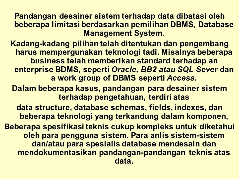 Tunggal M. Pandangan desainer sistem terhadap data dibatasi oleh beberapa limitasi berdasarkan pemilihan DBMS, Database Management System. Kadang-kada