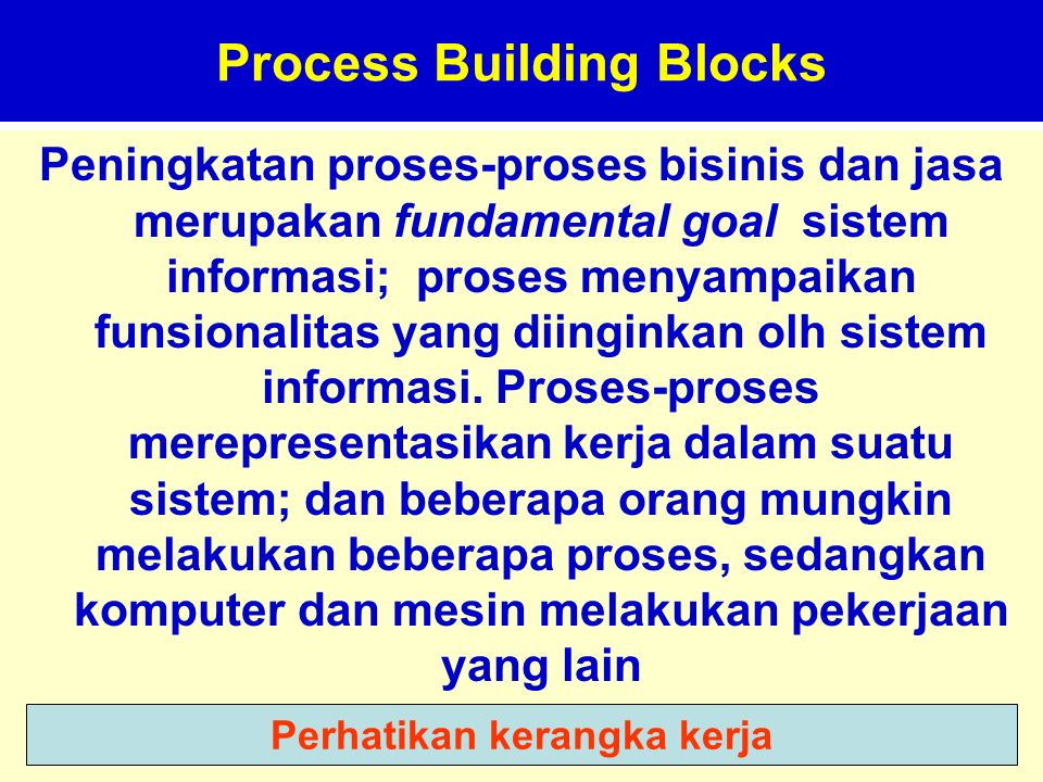 Tunggal M. Process Building Blocks Peningkatan proses-proses bisinis dan jasa merupakan fundamental goal sistem informasi; proses menyampaikan funsion
