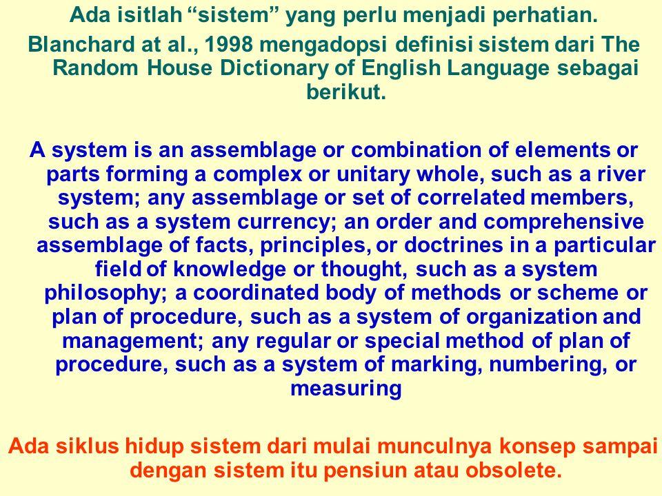 """Tunggal M. Ada isitlah """"sistem"""" yang perlu menjadi perhatian. Blanchard at al., 1998 mengadopsi definisi sistem dari The Random House Dictionary of En"""