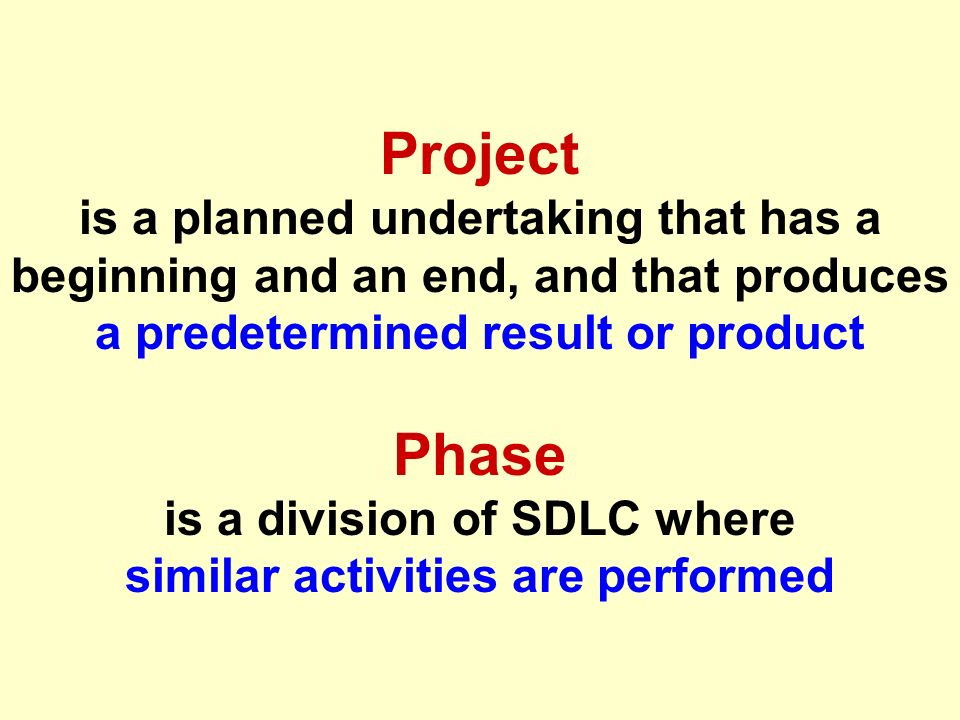 Tunggal M. Project is a planned undertaking that has a beginning and an end, and that produces a predetermined result or product Phase is a division o