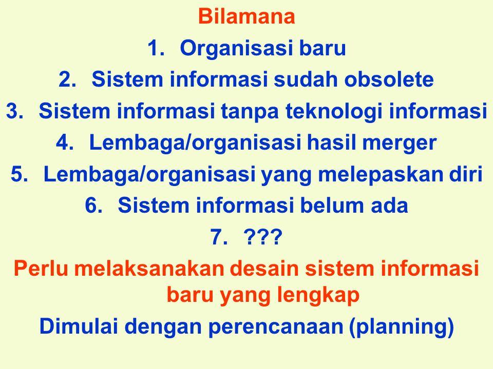 Tunggal M. Bilamana 1.Organisasi baru 2.Sistem informasi sudah obsolete 3.Sistem informasi tanpa teknologi informasi 4.Lembaga/organisasi hasil merger