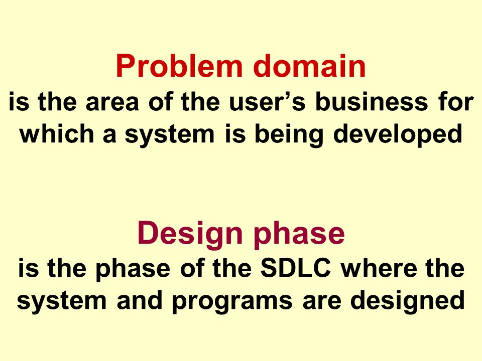 Tunggal M. Problem domain is the area of the user's business for which a system is being developed Design phase is the phase of the SDLC where the sys