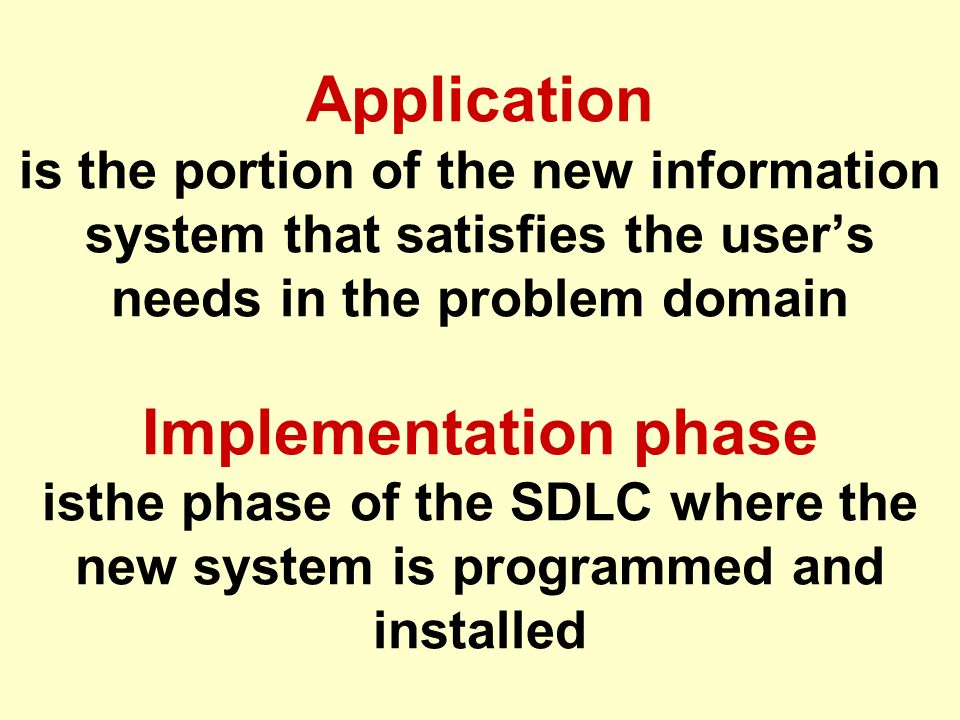 Tunggal M. Application is the portion of the new information system that satisfies the user's needs in the problem domain Implementation phase isthe p
