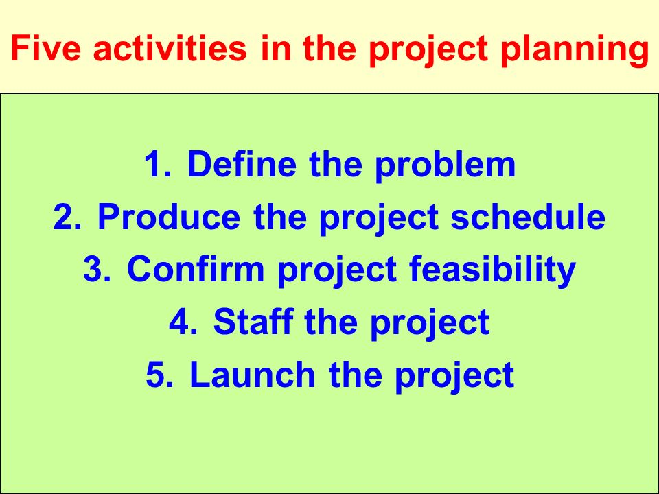 Tunggal M. Five activities in the project planning 1.Define the problem 2.Produce the project schedule 3.Confirm project feasibility 4.Staff the proje