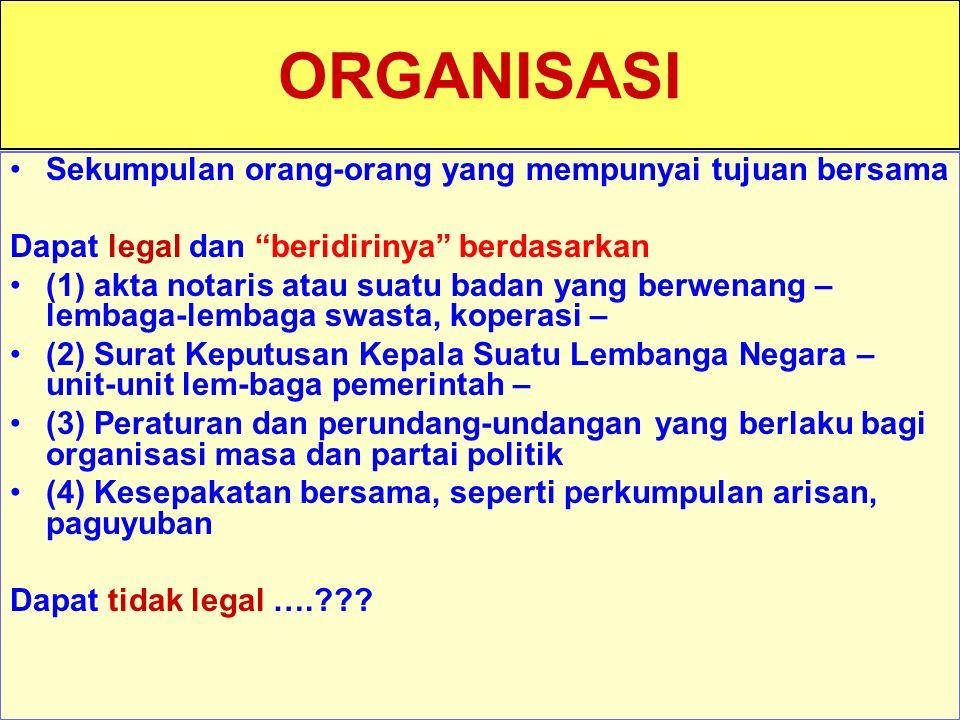 """Tunggal M. ORGANISASI Sekumpulan orang-orang yang mempunyai tujuan bersama Dapat legal dan """"beridirinya"""" berdasarkan (1) akta notaris atau suatu badan"""