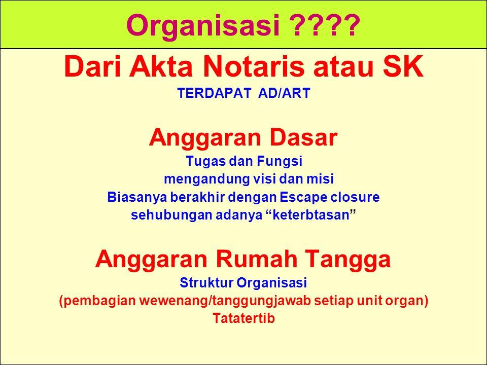 Tunggal M. Organisasi ???? Dari Akta Notaris atau SK TERDAPAT AD/ART Anggaran Dasar Tugas dan Fungsi mengandung visi dan misi Biasanya berakhir dengan