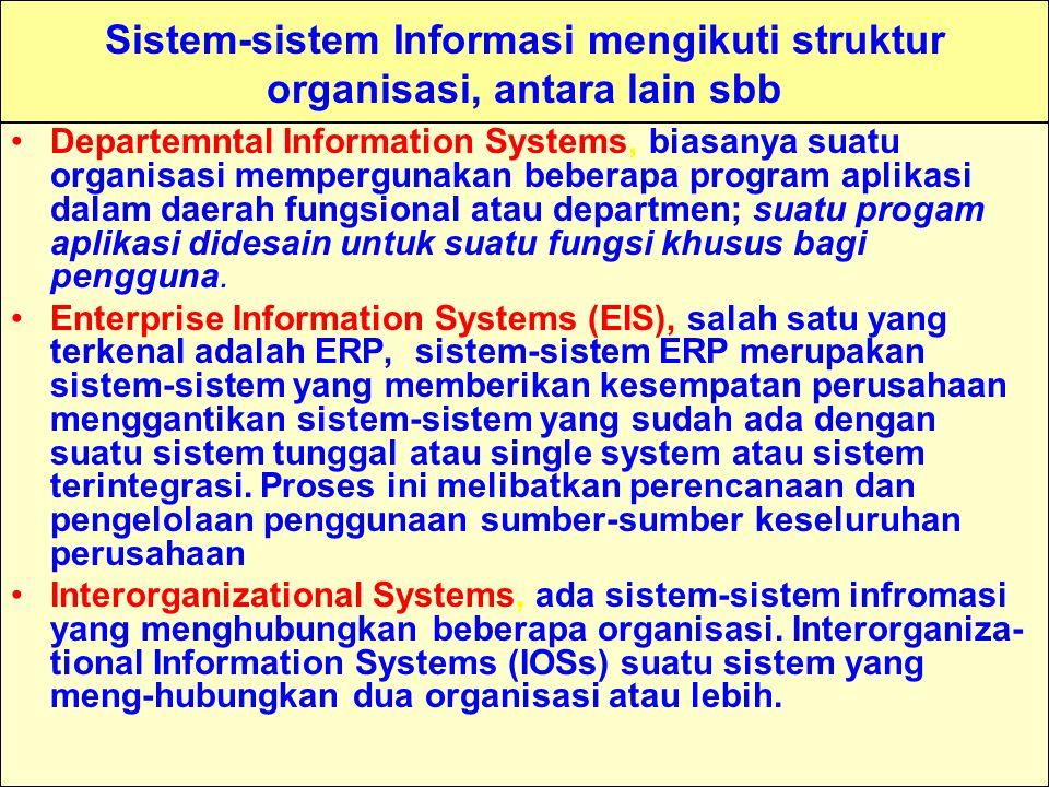 Tunggal M. Sistem-sistem Informasi mengikuti struktur organisasi, antara lain sbb Departemntal Information Systems, biasanya suatu organisasi mempergu