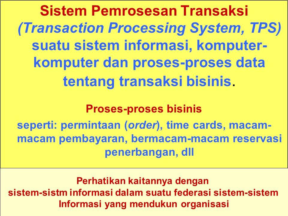 Tunggal M. Sistem Pemrosesan Transaksi (Transaction Processing System, TPS) suatu sistem informasi, komputer- komputer dan proses-proses data tentang