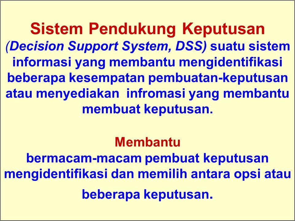 Tunggal M. Sistem Pendukung Keputusan (Decision Support System, DSS) suatu sistem informasi yang membantu mengidentifikasi beberapa kesempatan pembuat