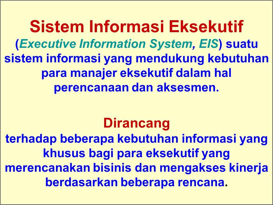 Tunggal M. Sistem Informasi Eksekutif (Executive Information System, EIS) suatu sistem informasi yang mendukung kebutuhan para manajer eksekutif dalam