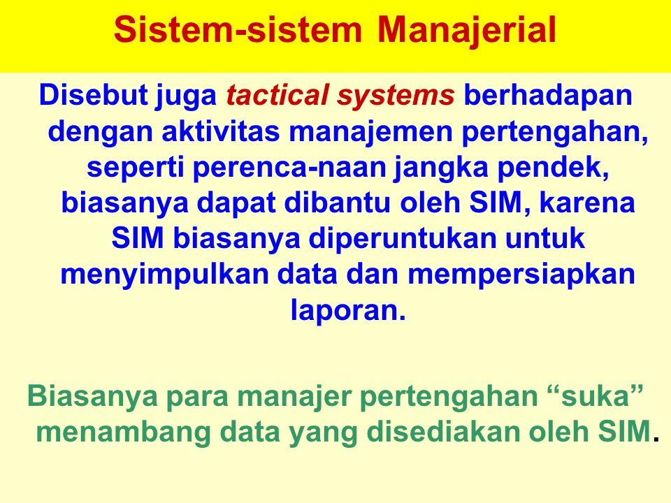 Tunggal M. Sistem-sistem Manajerial Disebut juga tactical systems berhadapan dengan aktivitas manajemen pertengahan, seperti perenca-naan jangka pende