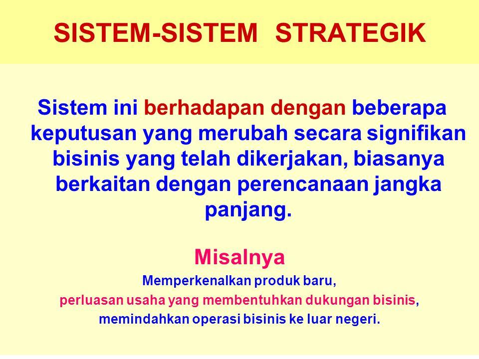 Tunggal M. SISTEM-SISTEM STRATEGIK Sistem ini berhadapan dengan beberapa keputusan yang merubah secara signifikan bisinis yang telah dikerjakan, biasa