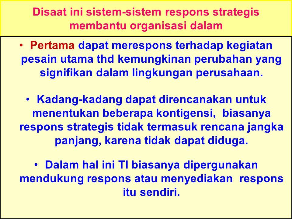Tunggal M. Disaat ini sistem-sistem respons strategis membantu organisasi dalam Pertama dapat merespons terhadap kegiatan pesain utama thd kemungkinan