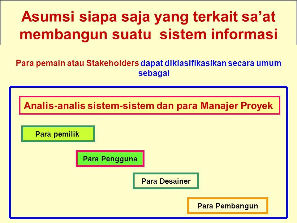 Tunggal M. Asumsi siapa saja yang terkait sa'at membangun suatu sistem informasi Para pemain atau Stakeholders dapat diklasifikasikan secara umum seba