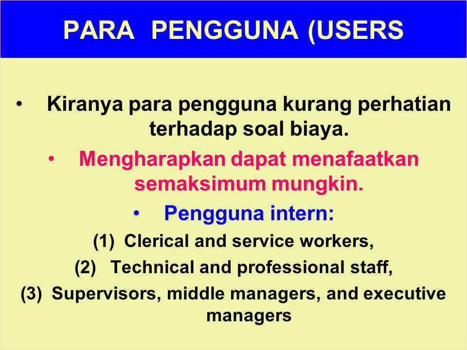 Tunggal M. PARA PENGGUNA (USERS Kiranya para pengguna kurang perhatian terhadap soal biaya. Mengharapkan dapat menafaatkan semaksimum mungkin. Penggun