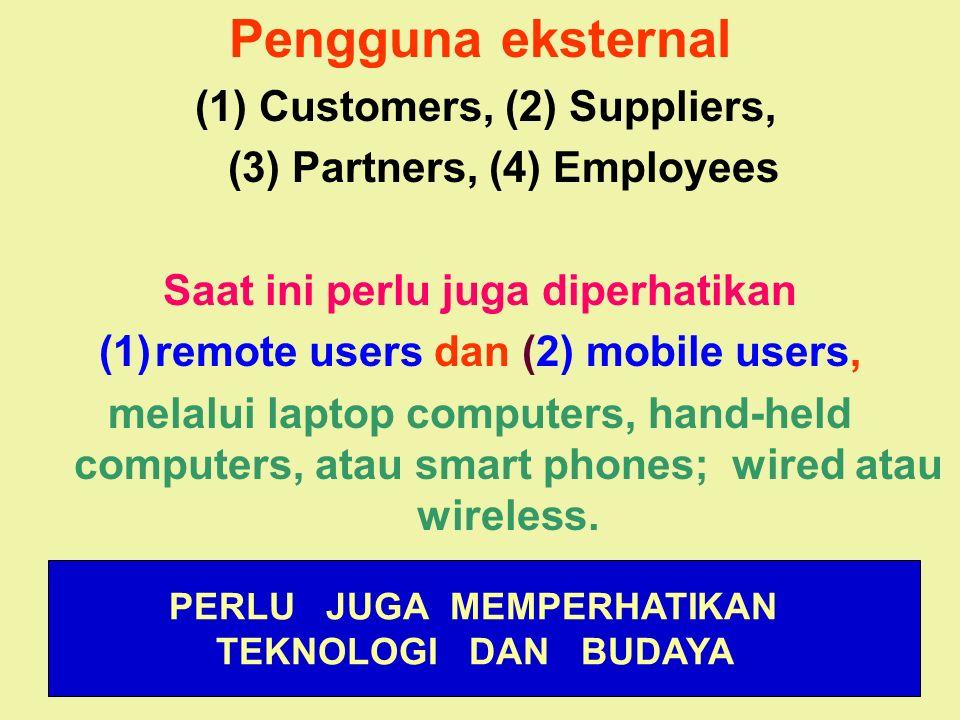 Tunggal M. Pengguna eksternal (1) Customers, (2) Suppliers, (3) Partners, (4) Employees Saat ini perlu juga diperhatikan (1)remote users dan (2) mobil