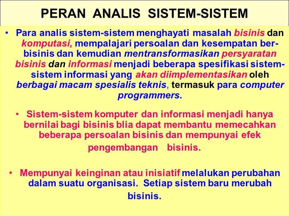 Tunggal M. PERAN ANALIS SISTEM-SISTEM Para analis sistem-sistem menghayati masalah bisinis dan komputasi, mempalajari persoalan dan kesempatan ber- bi
