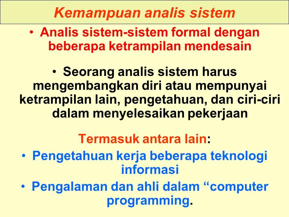Tunggal M. Kemampuan analis sistem Analis sistem-sistem formal dengan beberapa ketrampilan mendesain Seorang analis sistem harus mengembangkan diri at