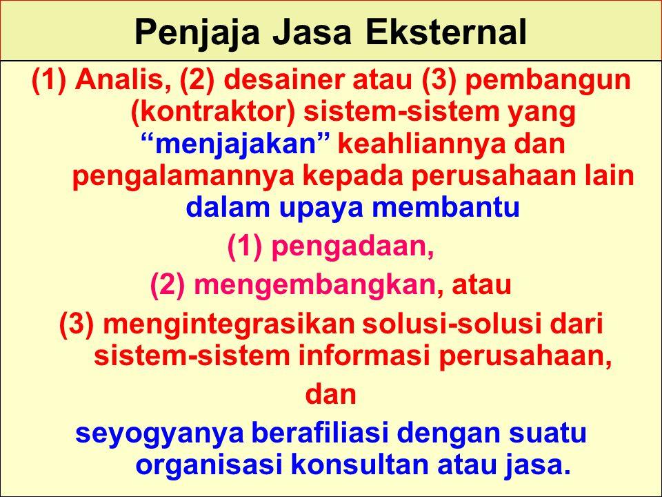 """Tunggal M. Penjaja Jasa Eksternal (1)Analis, (2) desainer atau (3) pembangun (kontraktor) sistem-sistem yang """"menjajakan"""" keahliannya dan pengalamanny"""