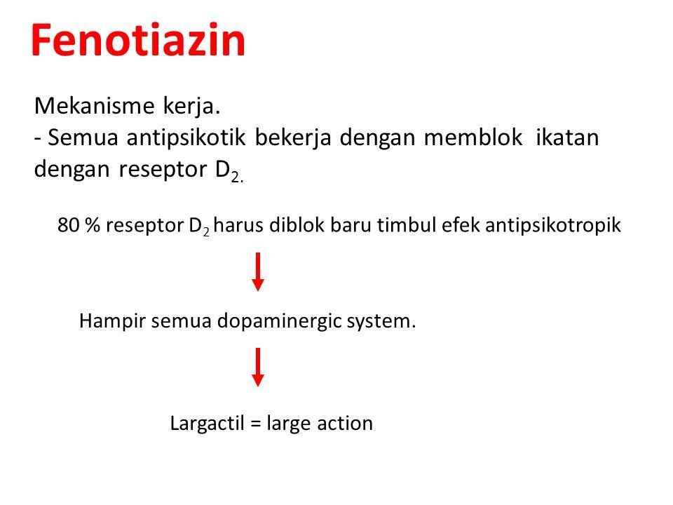 Fenotiazin Mekanisme kerja. - Semua antipsikotik bekerja dengan memblok ikatan dengan reseptor D 2. 80 % reseptor D 2 harus diblok baru timbul efek an