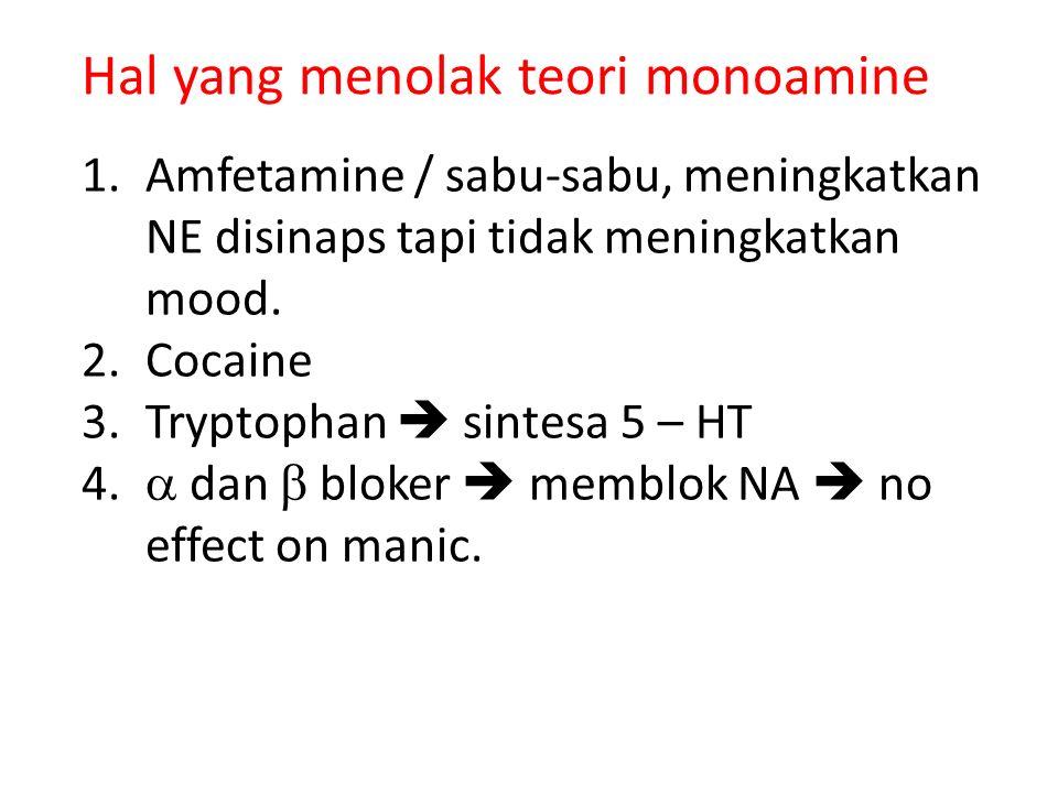 Hal yang menolak teori monoamine 1.Amfetamine / sabu-sabu, meningkatkan NE disinaps tapi tidak meningkatkan mood. 2.Cocaine 3.Tryptophan  sintesa 5 –