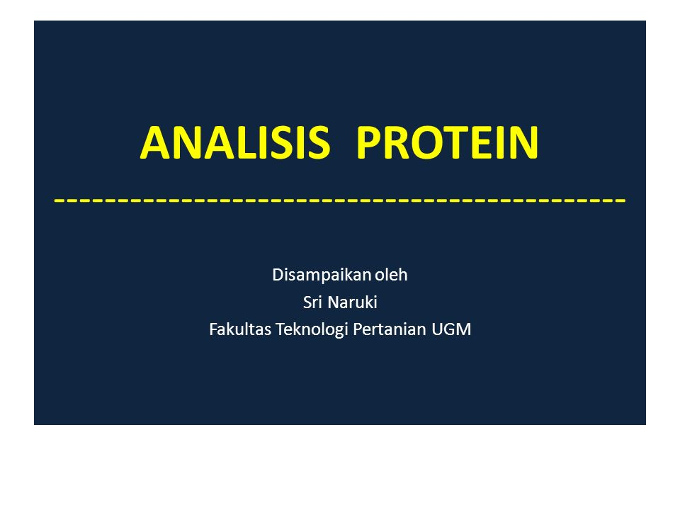The total organic nitrogen in foods would represent nitrogen : -Primarily from protein -A lesser extent from all organic nitrogen- containing nonprotein substances Therefore, % Protein = CF x % N is called : crude protein (protein kasar) Other major food components, including carbohydrate and lipid, may interfere physically with analysis of food proteins