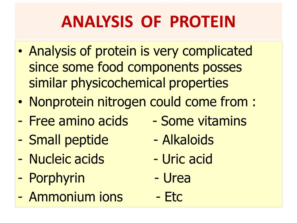 Analysis of protein is very complicated since some food components posses similar physicochemical properties Nonprotein nitrogen could come from : -Fr