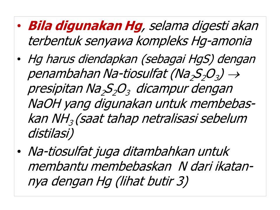 Bila digunakan Hg, selama digesti akan terbentuk senyawa kompleks Hg-amonia Hg harus diendapkan (sebagai HgS) dengan penambahan Na-tiosulfat (Na 2 S 2