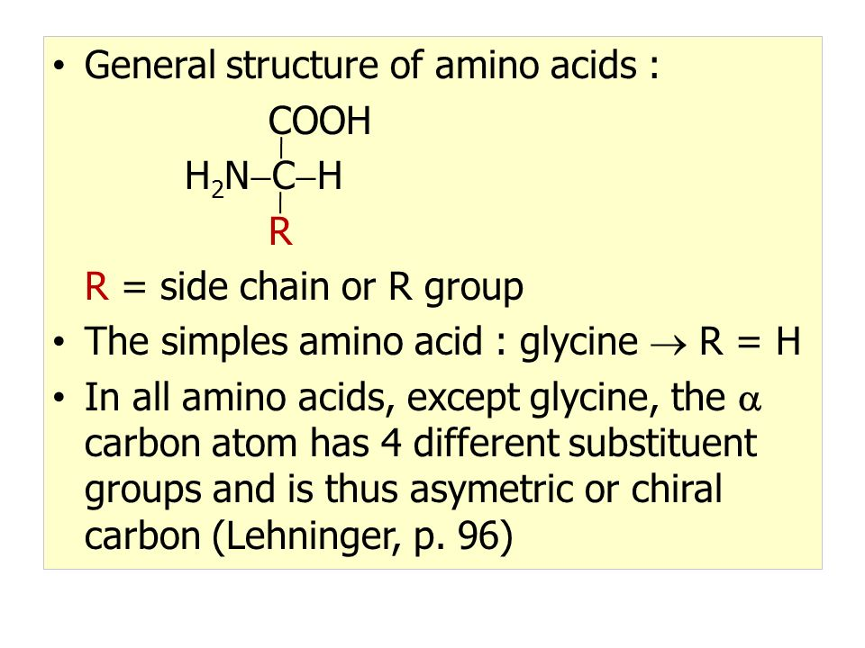 General structure of amino acids : COOH H 2 N  C  H R R = side chain or R group The simples amino acid : glycine  R = H In all amino acids, except