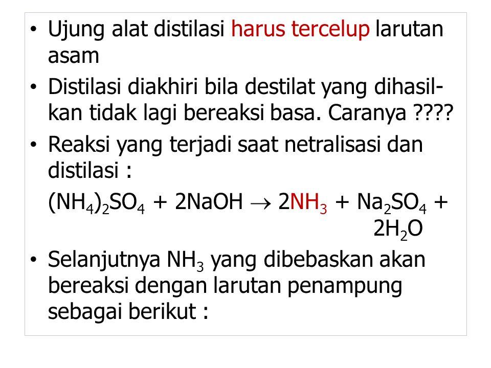Ujung alat distilasi harus tercelup larutan asam Distilasi diakhiri bila destilat yang dihasil- kan tidak lagi bereaksi basa. Caranya ???? Reaksi yang