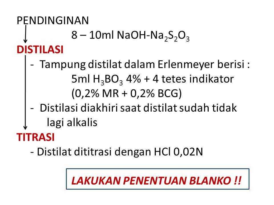 PENDINGINAN 8 – 10ml NaOH-Na 2 S 2 O 3 DISTILASI - Tampung distilat dalam Erlenmeyer berisi : 5ml H 3 BO 3 4% + 4 tetes indikator (0,2% MR + 0,2% BCG) - Distilasi diakhiri saat distilat sudah tidak lagi alkalis TITRASI - Distilat dititrasi dengan HCl 0,02N LAKUKAN PENENTUAN BLANKO !!