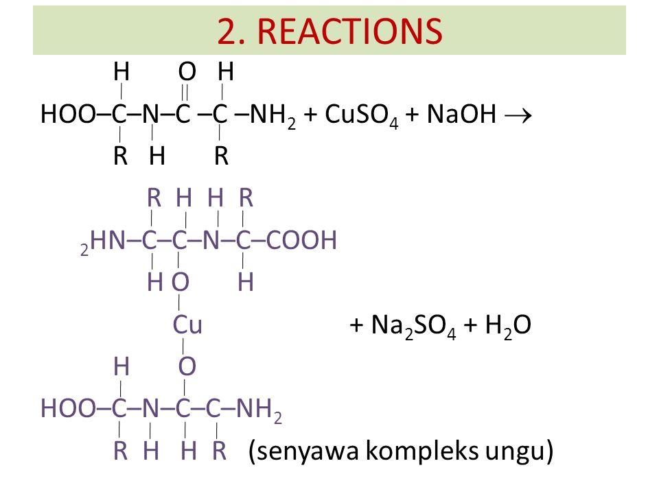 H O H HOO–C–N–C –C –NH 2 + CuSO 4 + NaOH  R H R R H H R 2 HN–C–C–N–C–COOH H O H Cu + Na 2 SO 4 + H 2 O H O HOO–C–N–C–C–NH 2 R H H R (senyawa kompleks ungu) 2.