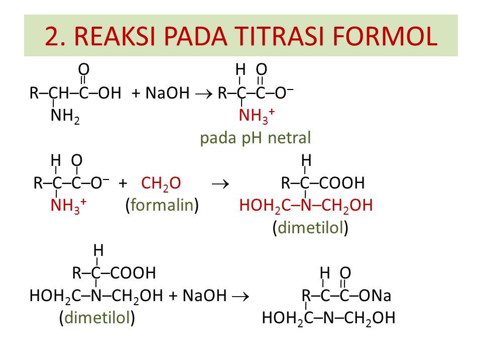 O H O R–CH–C–OH + NaOH  R–C–C–O – NH 2 NH 3 + pada pH netral H O H R–C–C–O – + CH 2 O  R–C–COOH NH 3 + (formalin) HOH 2 C–N–CH 2 OH (dimetilol) H R–