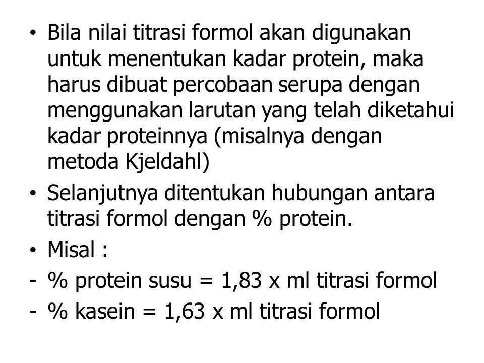 Bila nilai titrasi formol akan digunakan untuk menentukan kadar protein, maka harus dibuat percobaan serupa dengan menggunakan larutan yang telah dike