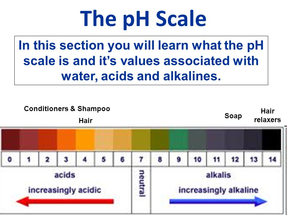 The pH Scale Conditioners & Shampoo Soap Hair relaxers Hair In this section you will learn what the pH scale is and it's values associated with water,