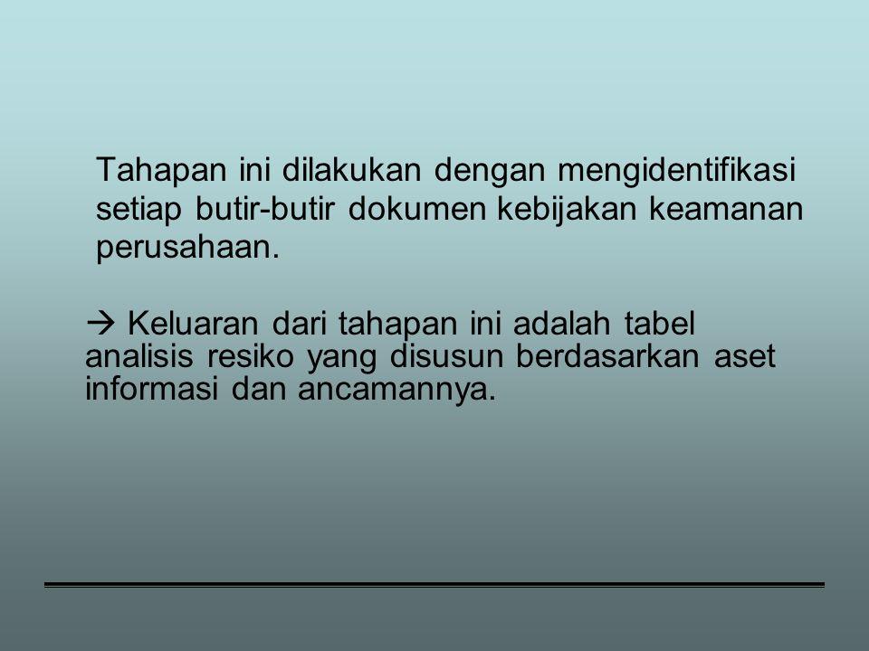 Tahapan ini dilakukan dengan mengidentifikasi setiap butir-butir dokumen kebijakan keamanan perusahaan.
