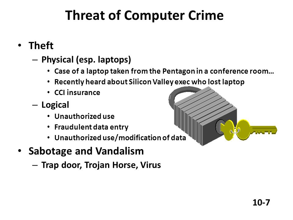 Threat of Computer Crime Theft – Physical (esp.