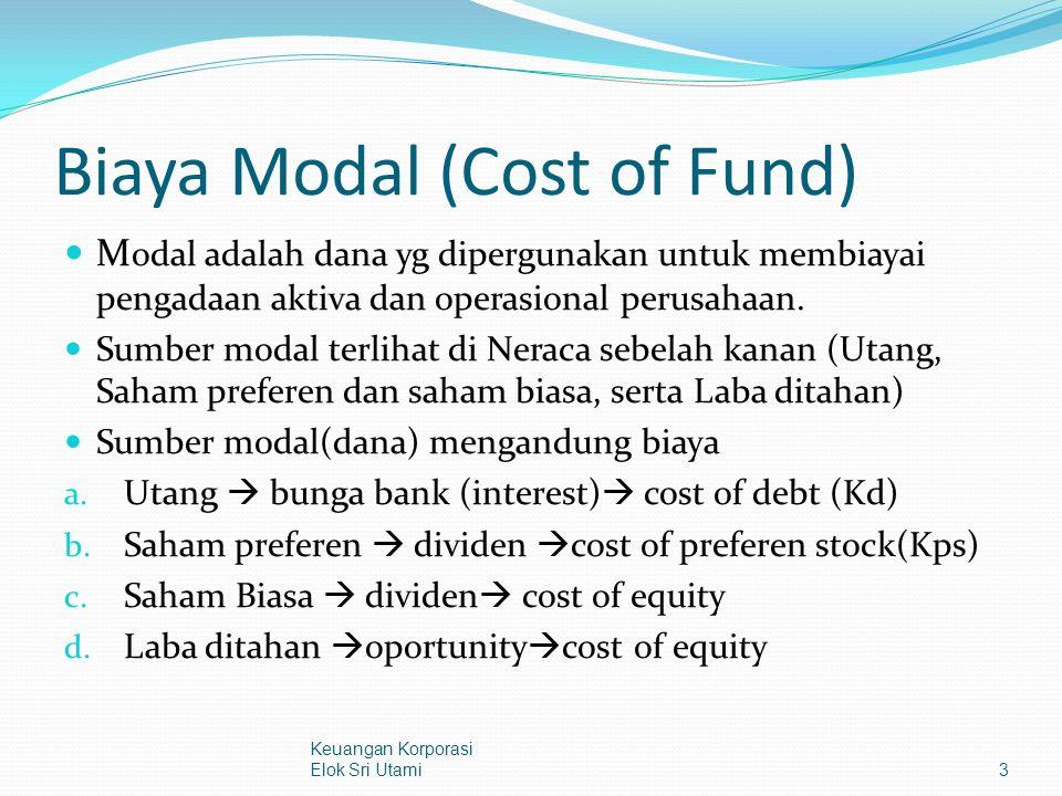 Biaya Modal (Cost of Fund) M odal adalah dana yg dipergunakan untuk membiayai pengadaan aktiva dan operasional perusahaan.