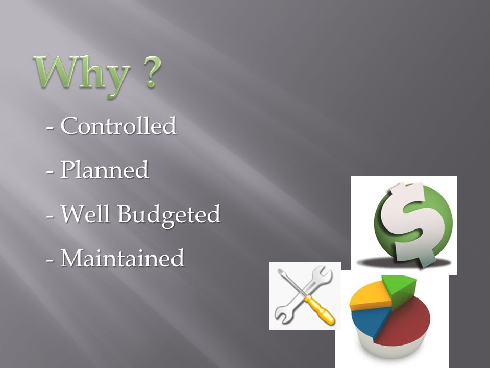 - Controlled - P- P- P- Planned - W- W- W- Well Budgeted - M- M- M- Maintained