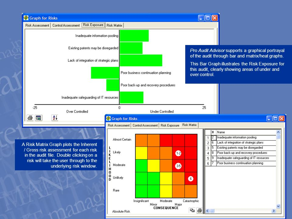 A Risk Matrix Graph plots the Inherent / Gross risk assessment for each risk in the audit file.