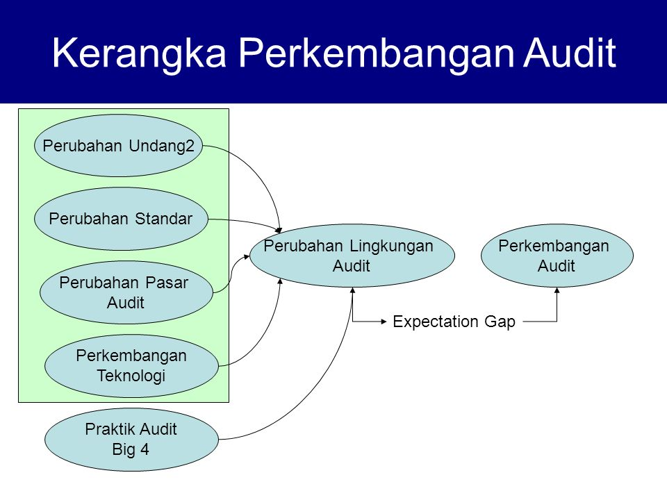 Kerangka Perkembangan Audit Perkembangan Audit Perubahan Lingkungan Audit Expectation Gap Perubahan Undang2 Perubahan Standar Perubahan Pasar Audit Perkembangan Teknologi Praktik Audit Big 4
