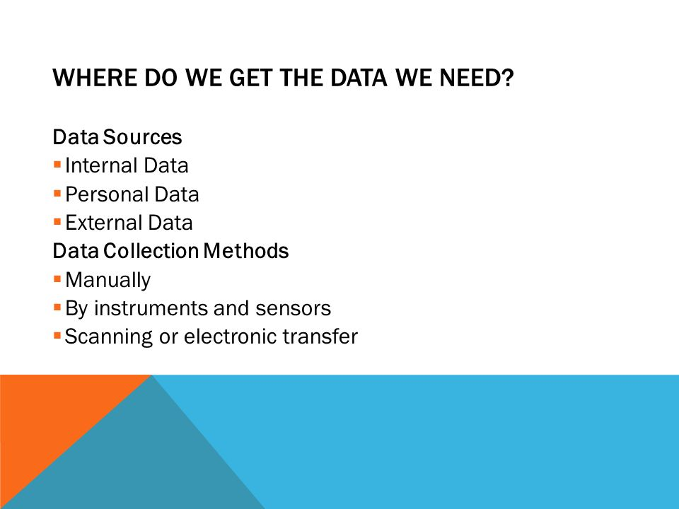 WHERE DO WE GET THE DATA WE NEED? Data Sources  Internal Data  Personal Data  External Data Data Collection Methods  Manually  By instruments and