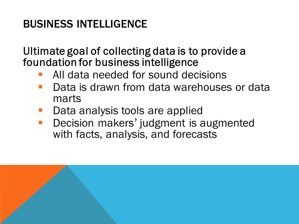 BUSINESS INTELLIGENCE Ultimate goal of collecting data is to provide a foundation for business intelligence  All data needed for sound decisions  Da