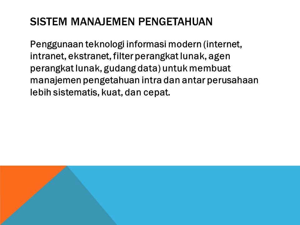 SISTEM MANAJEMEN PENGETAHUAN Penggunaan teknologi informasi modern (internet, intranet, ekstranet, filter perangkat lunak, agen perangkat lunak, gudan