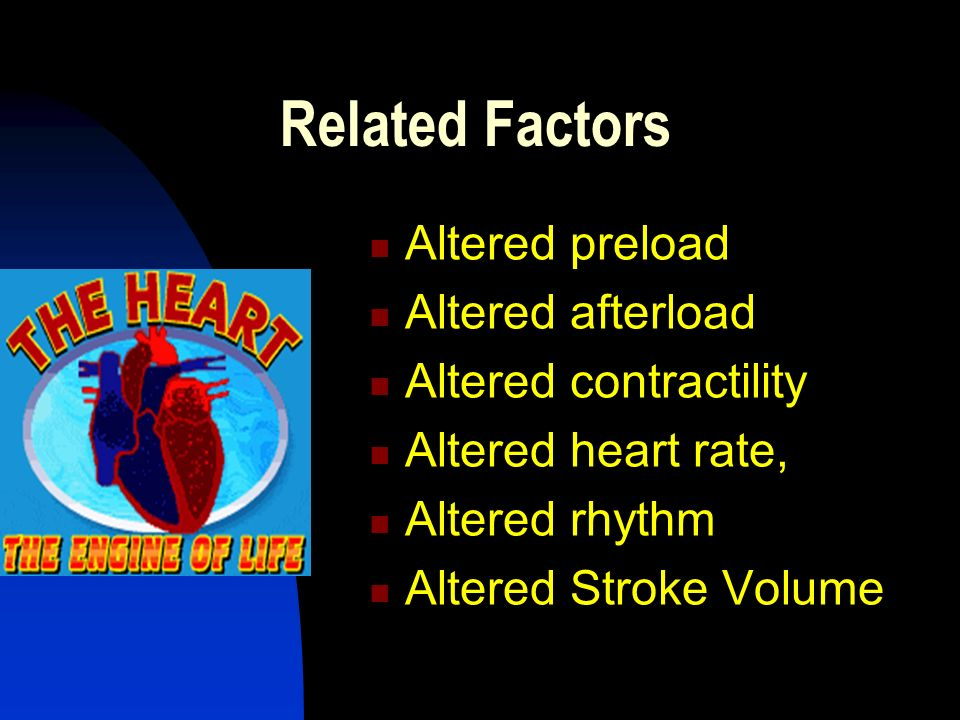 Related Factors Altered preload Altered afterload Altered contractility Altered heart rate, Altered rhythm Altered Stroke Volume