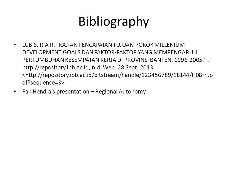 Bibliography LUBIS, RIA R.